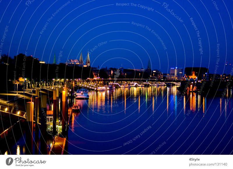 Water Blue Moody River Romance Harbour Skyline Night Footbridge Lakeside Brook River bank Dome Bremen Promenade Weser