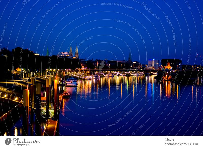 Water Blue Moody River Romance Harbour Skyline Night Footbridge Lakeside Brook River bank Dome Bremen Promenade Weser