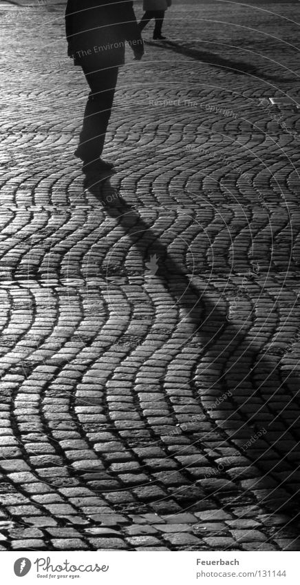 Long shadows Black & white photo Exterior shot Evening Light Shadow Contrast Silhouette Calm Human being 2 Duesseldorf Town Old town Places