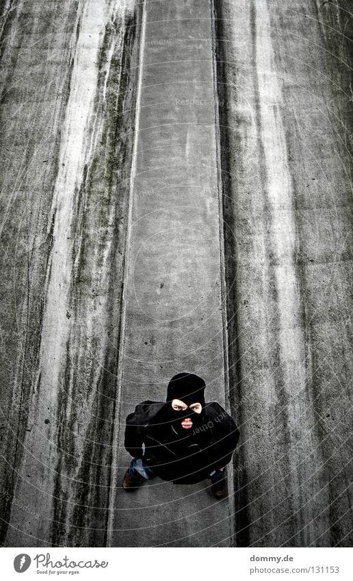 Man Old Black Dark Above Mouth Dirty Tall Corner Stand Cool (slang) Stripe Mask Friendliness Jacket Sidewalk
