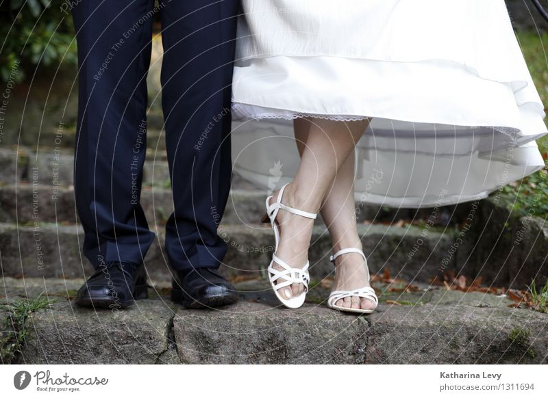 2 Feasts & Celebrations Wedding Human being Woman Adults Man Couple Partner Life Feet Legs Stand Black White Happy Joie de vivre (Vitality) Spring fever