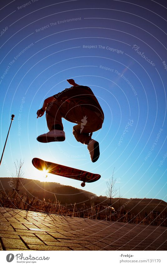 Sun wheel Jump Silhouette Sports Playing Skateboarding Flying silhoutte Blue sky