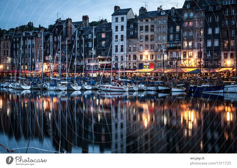 row house idyll Vacation & Travel Tourism Trip Sightseeing City trip Summer vacation Water Night sky Autumn Honfleur Normandie France Town Port City Old town