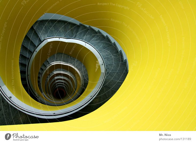 House (Residential Structure) Yellow Wall (building) Style Gray Room Lighting Architecture Planning Circle Stairs Modern Places Round Infinity