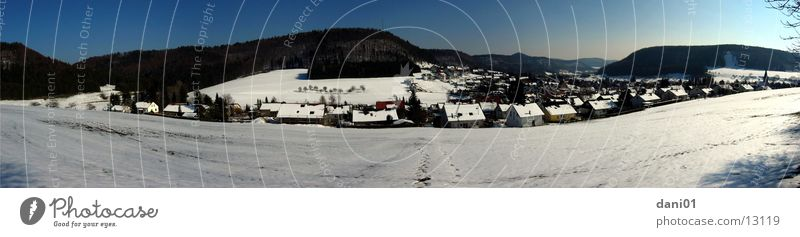 Winter Snow Landscape Large Panorama (Format) Swabian Jura Ski resort Balingen