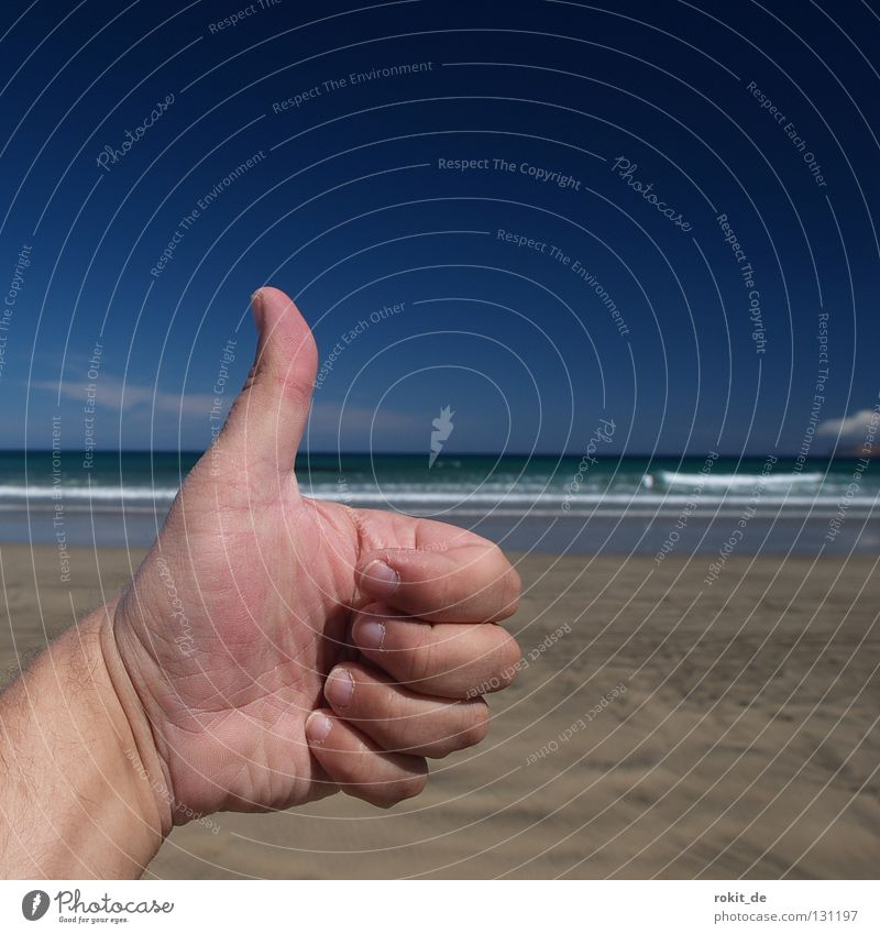1a holiday! Vacation & Travel Beach Waves Thumb Hand Happiness Sunbathing Lanzarote Canaries Atlantic Ocean Blue White crest Low tide Fingers Clouds Physics