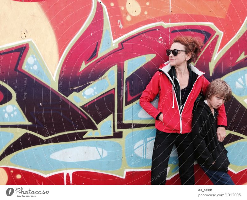 Mother and Son Boy (child) Woman Adults Life 2 Human being 3 - 8 years Child Infancy 30 - 45 years Youth culture Subculture Wall (barrier) Wall (building)