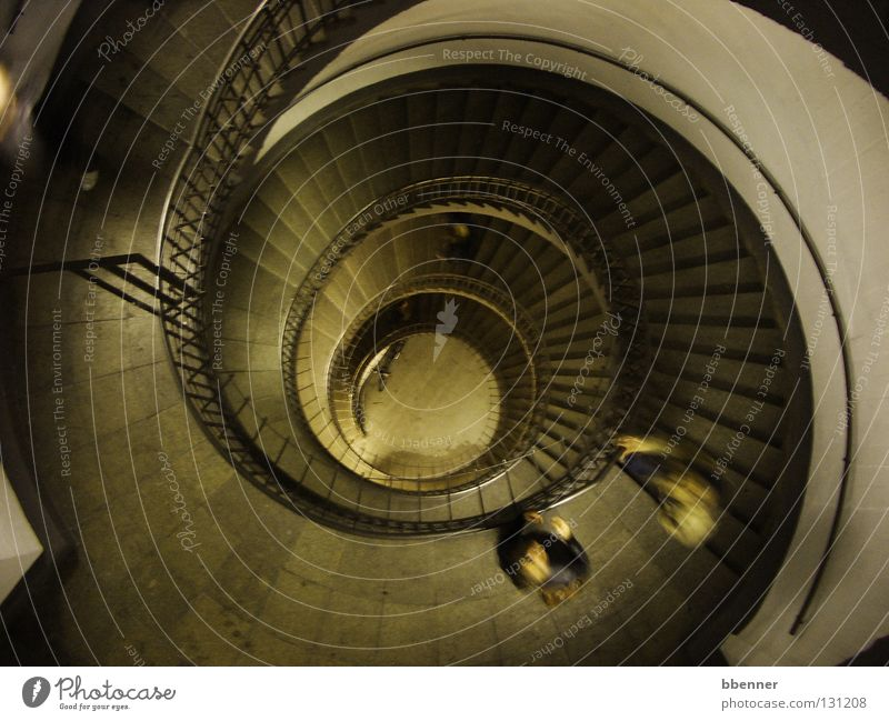 Staircase in the bunker Staircase (Hallway) Story Whirlpool Circle Historic Landmark Monument Transience Stairs Handrail Human being Appearance Tile Swirl