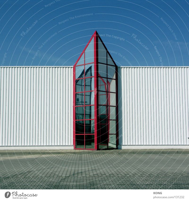 top of page Wall (building) Industrial zone Furniture store Corrugated sheet iron Red White Point Ambitious Economic cycle Industry Modern Upward Above Blue