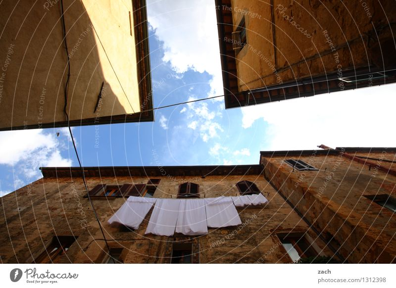 Suspended Sky Summer Beautiful weather Laundry Towel Italy Tuscany Town Downtown Old town Deserted House (Residential Structure) Dream house Places