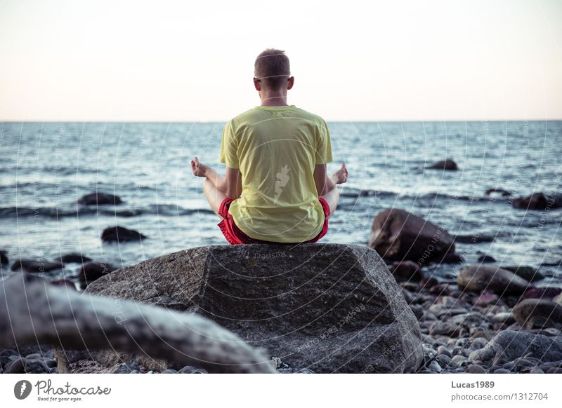 Human being Nature Youth (Young adults) Man Relaxation Ocean Young man Landscape Calm Beach 18 - 30 years Adults Environment Coast Happy Rock