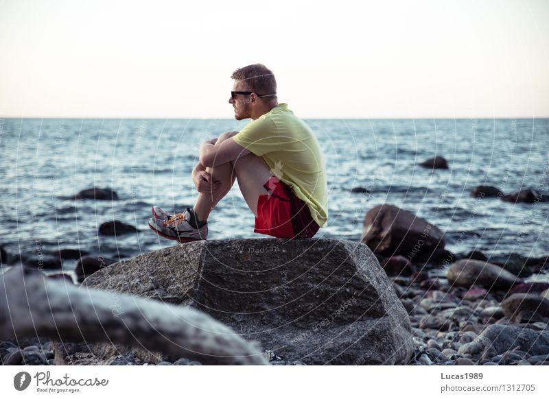 Human being Youth (Young adults) Man Ocean Loneliness Young man Calm Beach Cold Adults Sadness Coast Happy Masculine Waves Sit