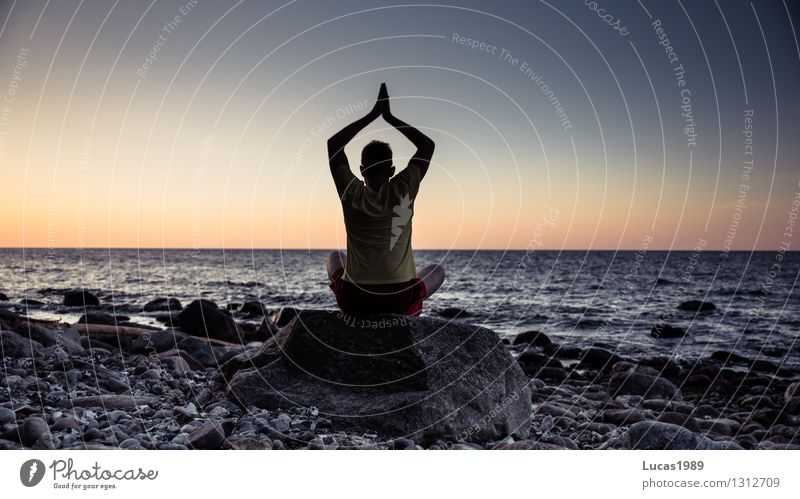 meditation on the shore Wellness Life Harmonious Well-being Contentment Senses Relaxation Calm Meditation Cure Spa Yoga Human being Masculine Young man