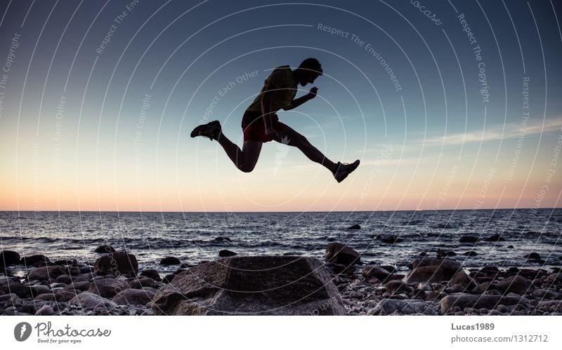 sharp jump Sports Fitness Sports Training Sportsperson Jogging Human being Masculine Young man Youth (Young adults) Man Adults 1 Rock Waves Coast Beach Ocean
