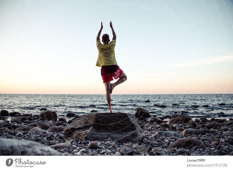 Yoga III Sports Fitness Sports Training Sportsperson Water Sky Cloudless sky Sunrise Sunset Spring Autumn Rock Waves Coast Beach Ocean Island Athletic Authentic