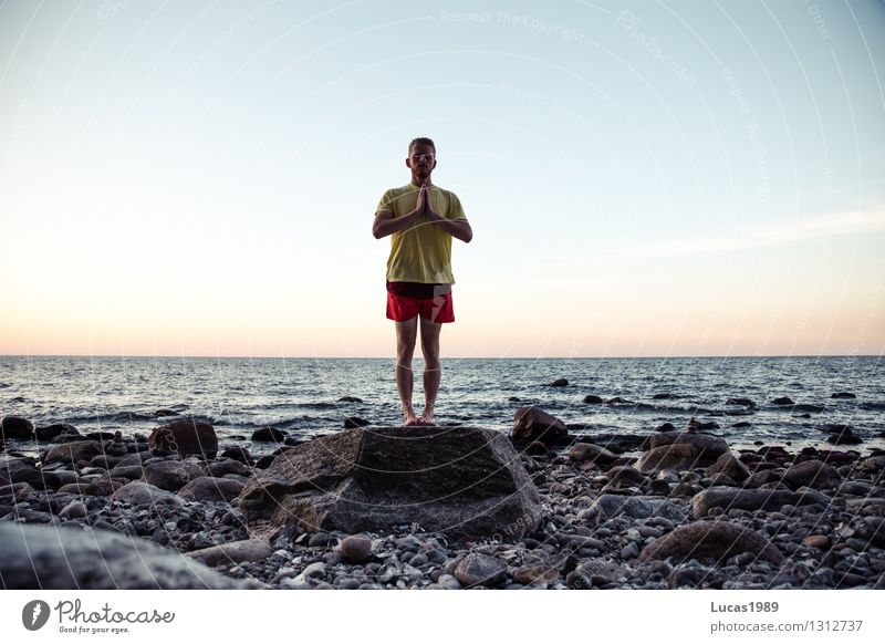 Human being Vacation & Travel Youth (Young adults) Man Relaxation Ocean Young man Calm Beach 18 - 30 years Adults Coast Sports Freedom Stone Rock