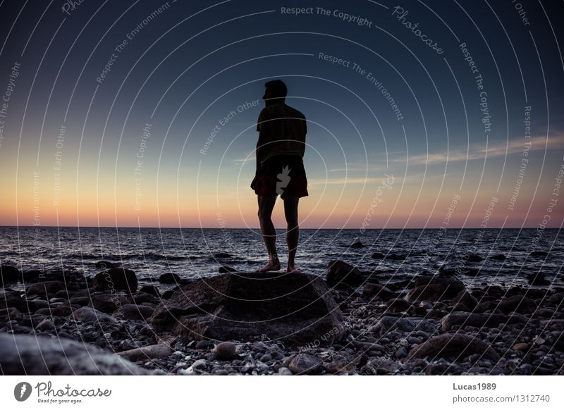 In the sunset Human being Masculine Young man Youth (Young adults) Man Adults 1 Sky Sunrise Sunset Waves Coast Lakeside River bank Beach North Sea Baltic Sea
