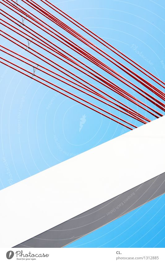 Blue White Red Architecture Line Esthetic Bridge Manmade structures Cloudless sky Sharp-edged Precision