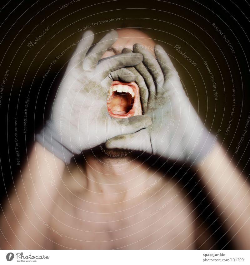 Human being Man Hand Joy Black Face Dark Fear Fingers Crazy Force Scream Evil Freak Gloves