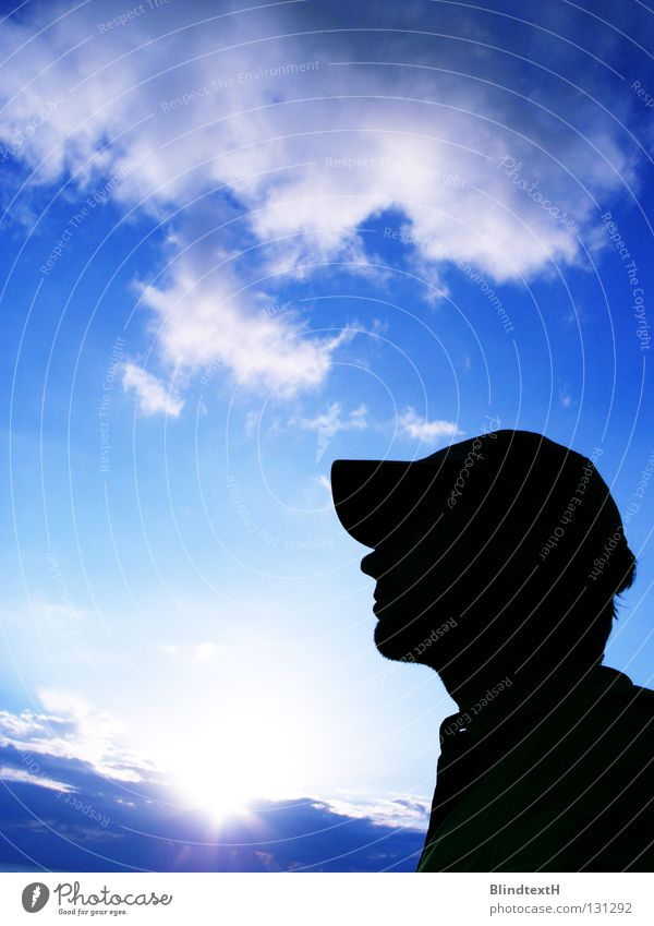 Human being Man Sky Sun Blue Clouds Loneliness Dream Think Power Force Cap Majorca Dramatic Baseball cap