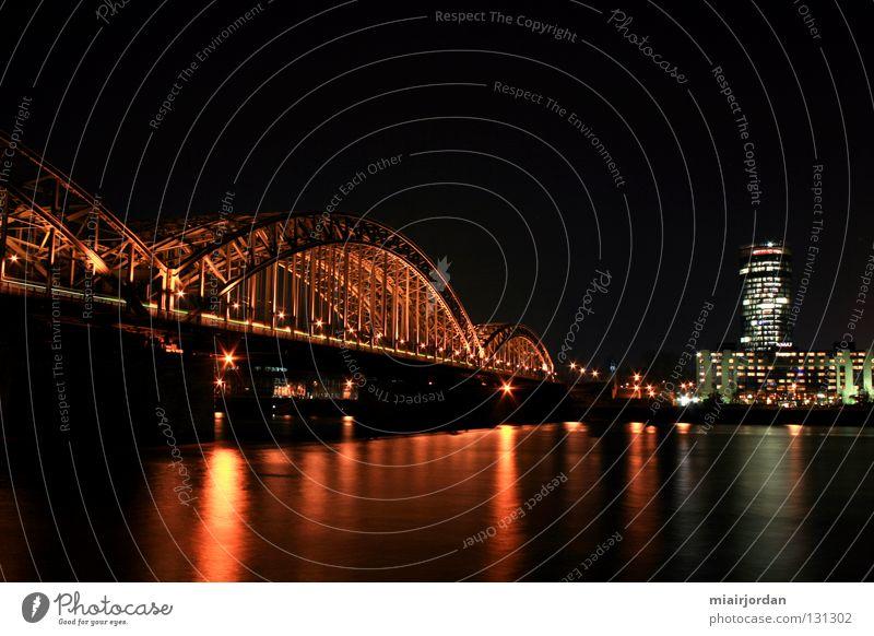 Water Landscape Railroad Bridge River Cologne Rhine Night shot Cologne-Deutz