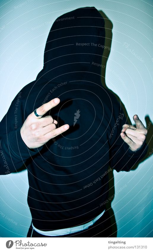 Man Hand White Blue Joy Black Cold Masculine Fingers Mask Jacket Sweater Hooded (clothing) Frontal Cover Rock'n'Roll