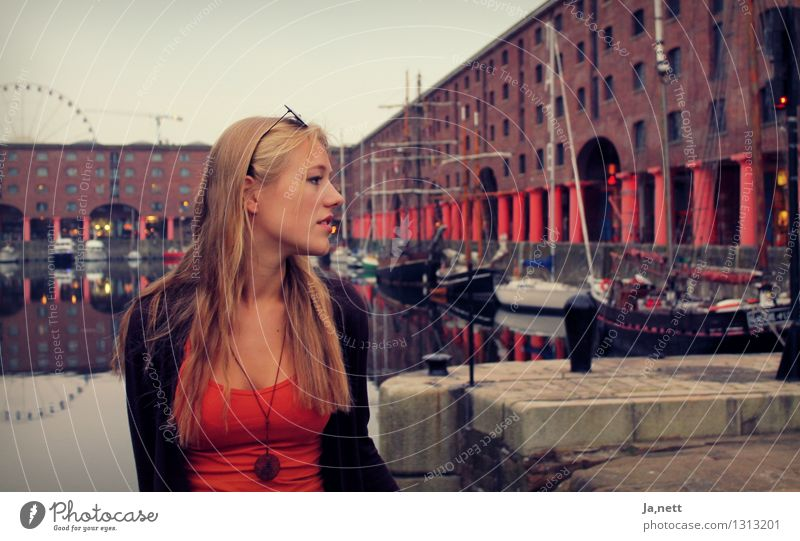 Liverpool Human being Feminine Young woman Youth (Young adults) 1 18 - 30 years Adults Town Port City Industrial plant Harbour Blonde Long-haired Brick Water