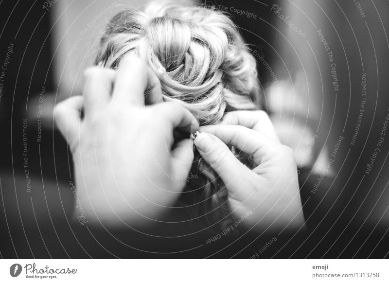 wedding Hair and hairstyles Blonde Curl Pinned up hairstyle Pin up Hairdresser Beautiful Black & white photo Interior shot Close-up Detail Day