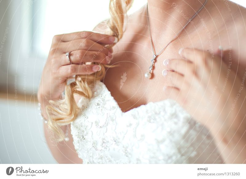 ornament Dress Accessory Jewellery Necklace Wedding dress Blonde Curl Beautiful White Precious Expensive Colour photo Interior shot Close-up Detail Day