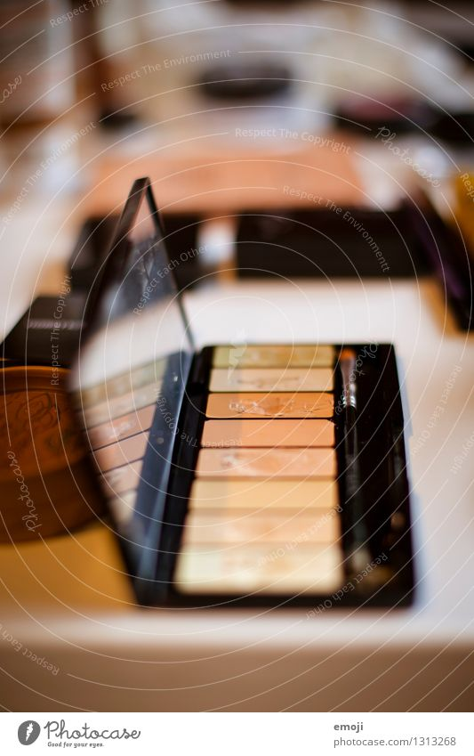 pallet Style Beautiful Cosmetics Make-up Eye shadow Colour Brown Yellow Beige Colour photo Interior shot Close-up Deserted Day Shallow depth of field