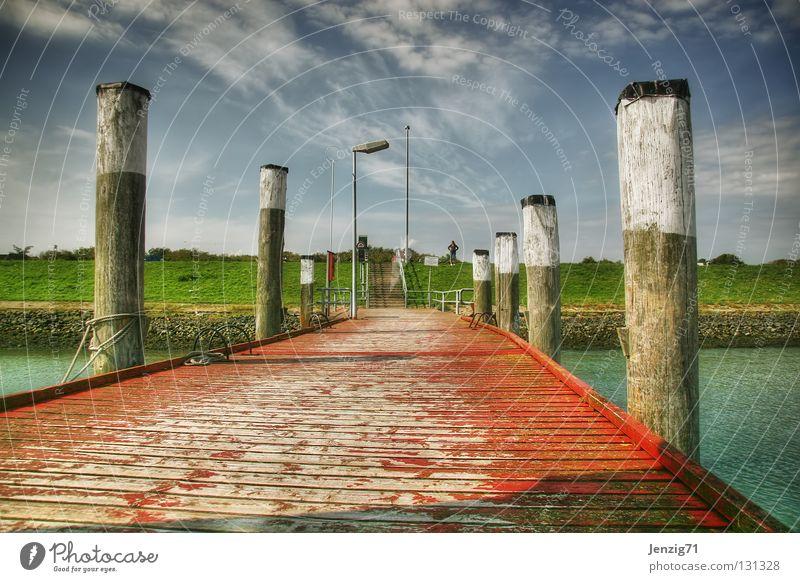 Water Sky Ocean Summer Vacation & Travel Watercraft Island Harbour Footbridge Navigation Wooden board Come Depart Drop anchor
