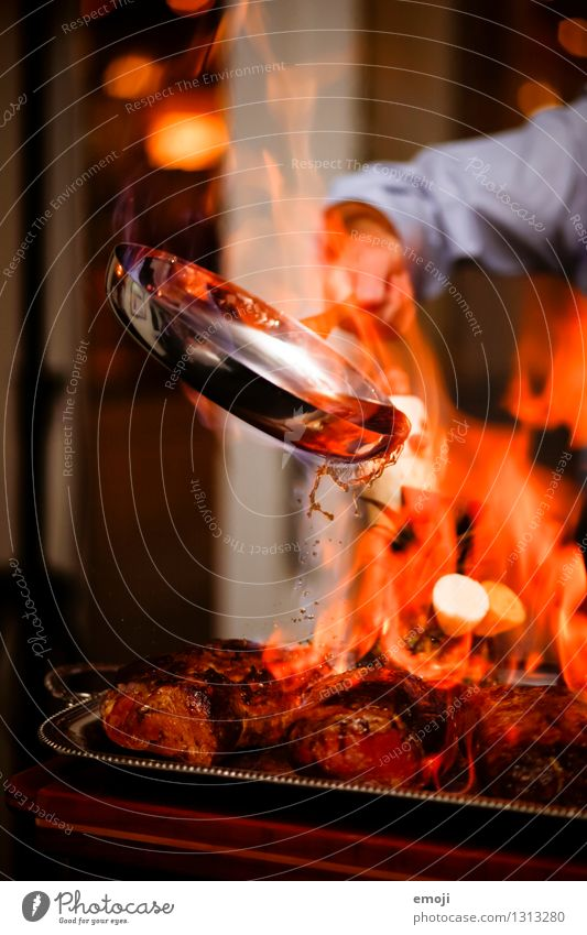 fiery Meat Nutrition Dinner Banquet flame Pan Fire Exceptional Hot Red Cooking Colour photo Interior shot Detail Deserted Twilight Light Shadow Motion blur