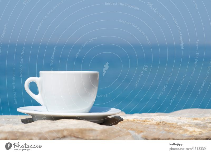 First a coffee. Beverage Coffee Espresso Crockery Plate Cup Lifestyle Style Happy Vacation & Travel Freedom Nature Climate Beautiful weather Waves Coast Bay