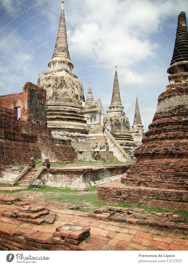 Wat Phra Si Sanphet Adventure Far-off places Sightseeing Expedition Summer Sun Architecture Garden Ayutthaya Thailand South East Asia Old town Deserted Ruin