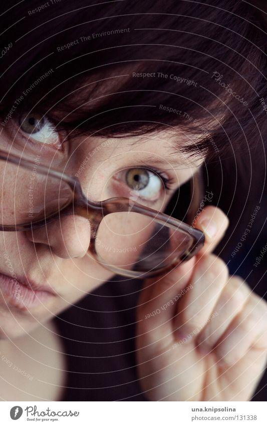 Woman Old Hand Adults Eyes Young woman 18 - 30 years Eyeglasses Retro Write Brunette Freak Lens Nerdy Face Demanding