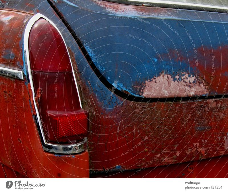 Old Blue Red Car Transport Industry Obscure Decline Rust Vintage car Fear of the future Insecure Rear light