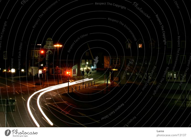 ghost drivers Town Night Long exposure Light Speed Traffic light Transport Car