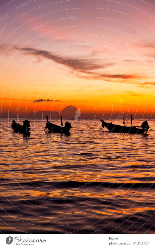 sunrise boat and sea in thailand kho Sky Nature Colour Sun Relaxation Red Clouds Beach Mountain Coast Freedom Sand Rock Watercraft Tourism Waves