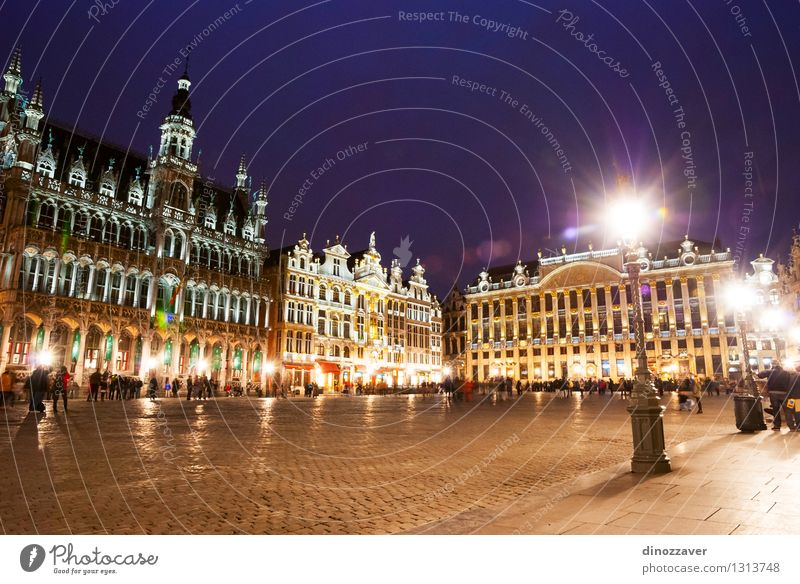 Brussels at night Beautiful Vacation & Travel Tourism Sky Small Town Places City hall Building Architecture Monument Old Historic center urban Belgium tower