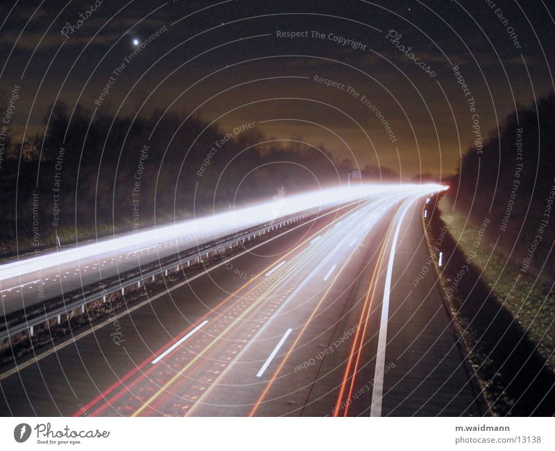 A45, at night, 2 Night Long exposure Highway Speed Light Transport Dynamics