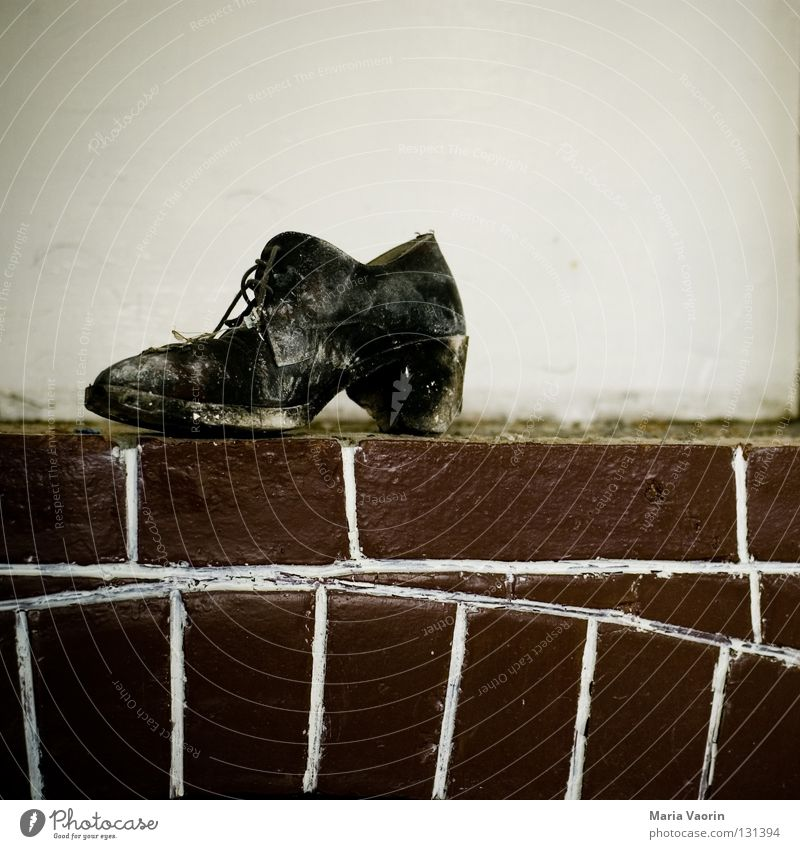 Old Loneliness Feet Footwear Dirty Going Walking Clothing Gloomy Transience Point Things Brick