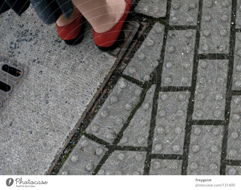 Woman Human being Red Gray Stone Feet Footwear Legs Wait Walking Sidewalk Cobblestones Traffic light