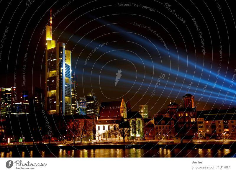 Colour Lamp Glittering Skyline Frankfurt Main Floodlight