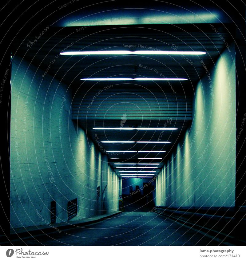 into the blue Underground garage Garage Tunnel Highway ramp (entrance) Subsoil Parking garage Dark Night Lamp Neon light Lighting Ambiguous Eerie Black Holes