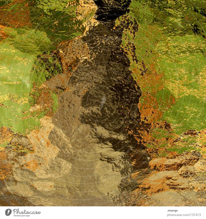 Green Colour Landscape Brown Orange Glass Background picture Obscure Broken Window pane Multicoloured Muddled Surface Progress Distorted Camouflage