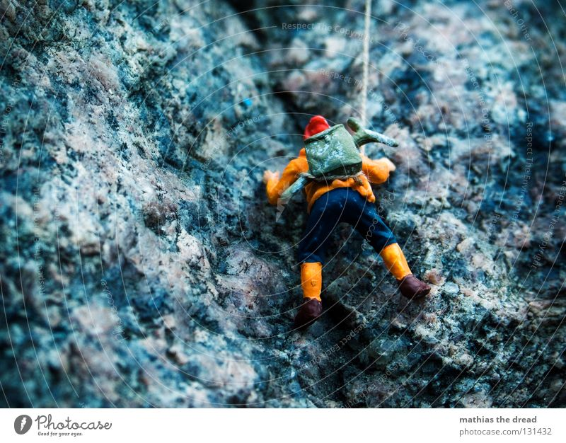 Man Nature Blue Loneliness Sports Dark Mountain Stone Large Rope Rock Tall Dangerous Threat Direction Safety (feeling of)