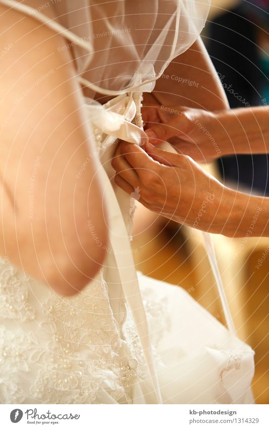 Bride when tightening the wedding dress Wedding Young woman Youth (Young adults) Woman Adults Partner 1 Human being 18 - 30 years Dress Love Attachment bride