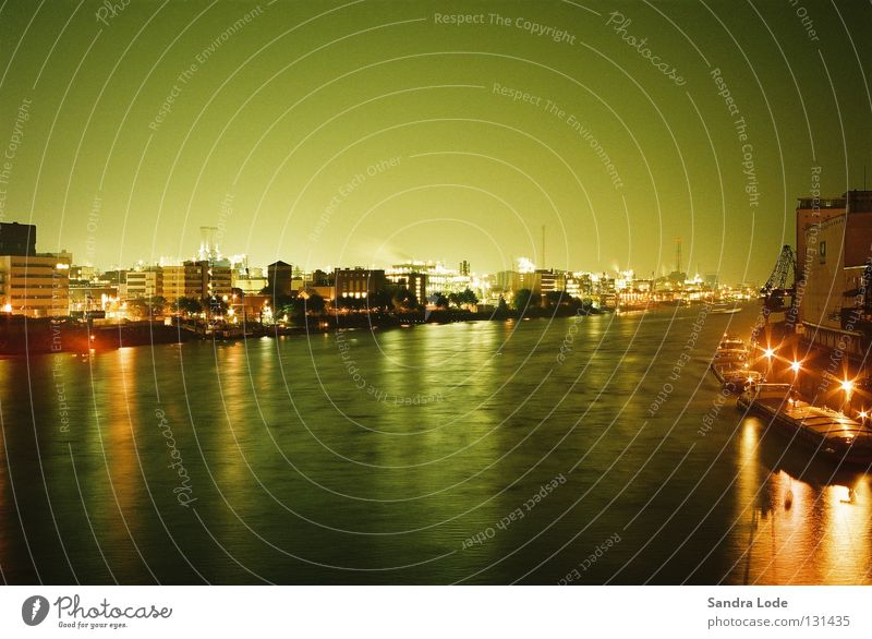Water Green Cold Lighting Industry River Harbour Navigation Night Cargo-ship