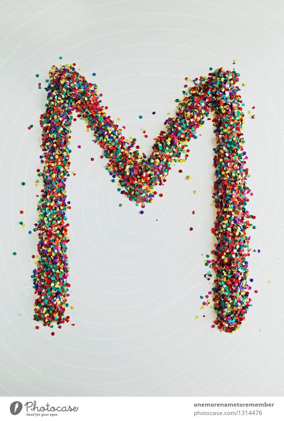M wie: Mouth-blown Art Work of art Esthetic Letters (alphabet) Typography Confetti Multicoloured Creativity Design Design studio Fashioned Point Patch of colour