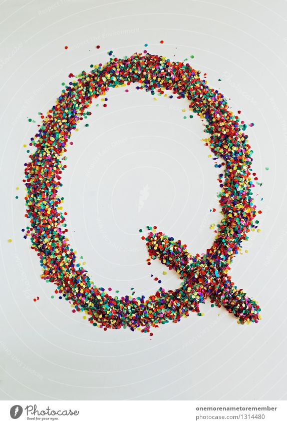Q like: quantum physics Art Work of art Esthetic Letters (alphabet) Typography Creativity Design Design studio Design museum Confetti Many Multicoloured